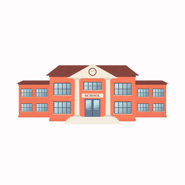 school building exterior isolated on white background. front view - high school stock illustrations, clip art, cartoons, & icons