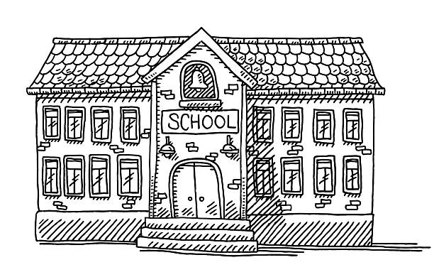 School Building Facade Drawing Hand-drawn vector drawing of a School Building Facade. Black-and-White sketch on a transparent background (.eps-file). Included files are EPS (v10) and Hi-Res JPG. schoolhouse stock illustrations