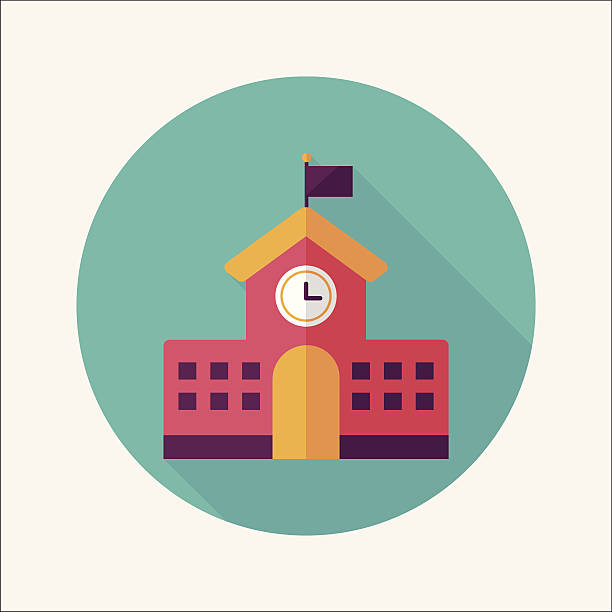 School building flat icon with long shadow,eps10 School building flat icon with long shadow,eps10 schoolhouse stock illustrations