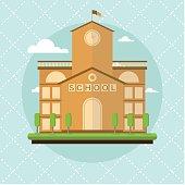 school building flat style vector illustration