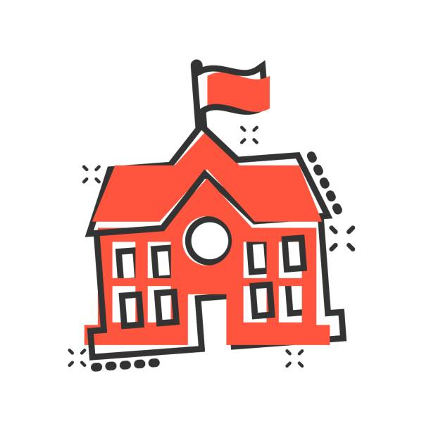 School building icon in comic style. College education vector cartoon illustration pictogram. Bank, government business concept splash effect. School building icon in comic style. College education vector cartoon illustration pictogram. Bank, government business concept splash effect. schoolhouse stock illustrations