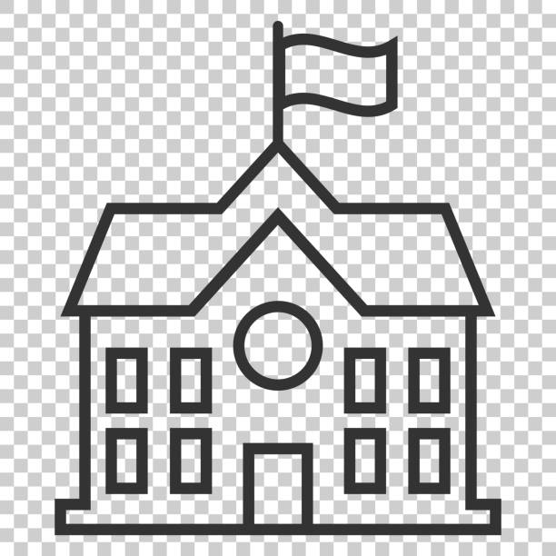 School building icon in flat style. College education vector illustration on isolated background. Bank, government business concept. School building icon in flat style. College education vector illustration on isolated background. Bank, government business concept. schoolhouse stock illustrations