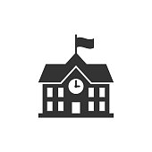 istock School building icon in flat style. College education vector illustration on white isolated background. Bank, government business concept. 1043158368