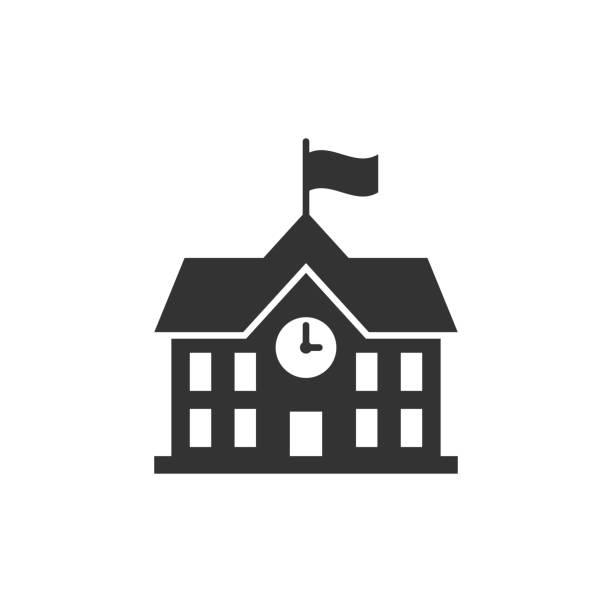 illustrazioni stock, clip art, cartoni animati e icone di tendenza di icona dell'edificio scolastico in stile piatto. illustrazione vettoriale dell'istruzione universitaria su sfondo bianco isolato. banca, concetto di business governativo. - scuola