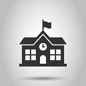 School building icon in flat style. College education vector illustration on white background. Bank, government business concept.