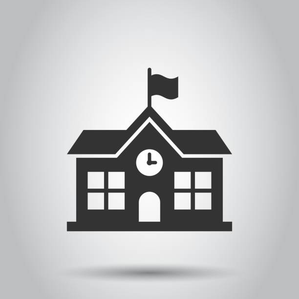 School building icon in flat style. College education vector illustration on white background. Bank, government business concept. School building icon in flat style. College education vector illustration on white background. Bank, government business concept. schoolhouse stock illustrations
