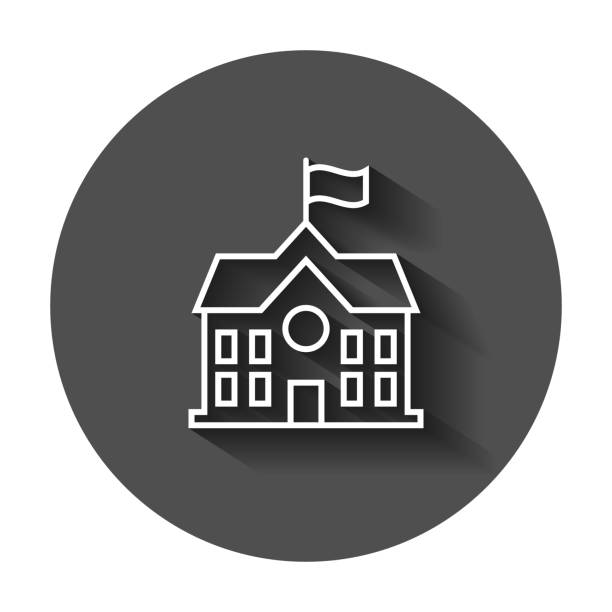 School building icon in flat style. College education vector illustration with long shadow. Bank, government business concept. School building icon in flat style. College education vector illustration with long shadow. Bank, government business concept. schoolhouse stock illustrations