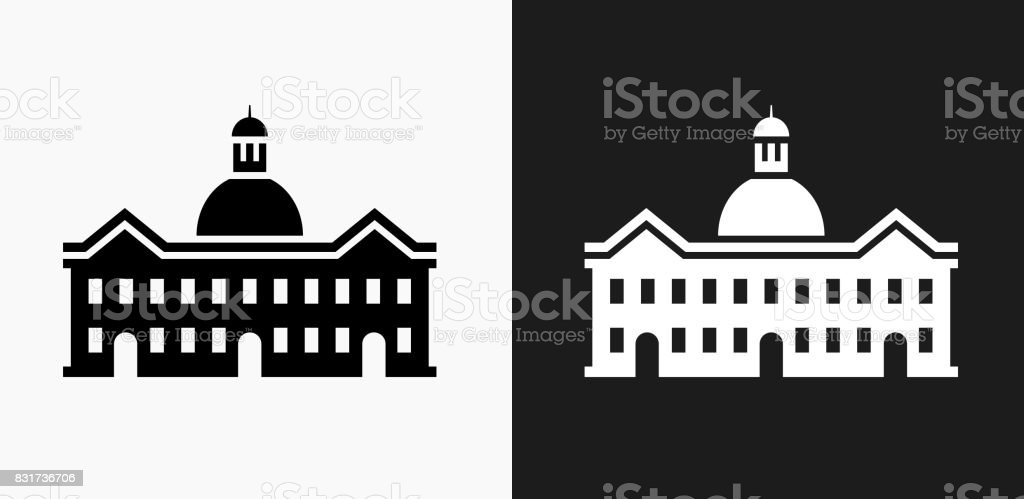 School Building Icon on Black and White Vector Backgrounds vector art illustration