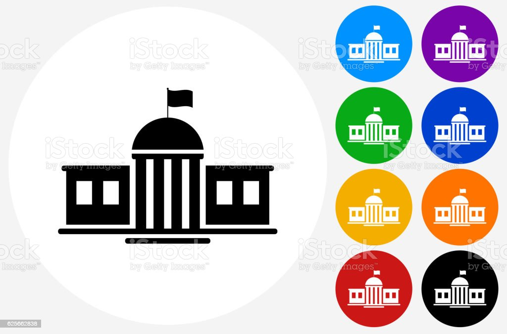 School Building Icon on Flat Color Circle Buttons vector art illustration