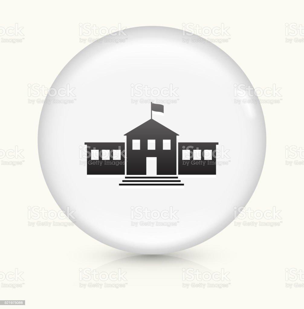 School Building icon on white round vector button vector art illustration