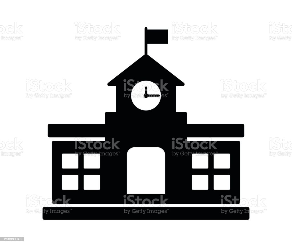 school building icon vector art illustration