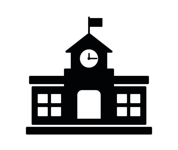 school building icon - school stock illustrations