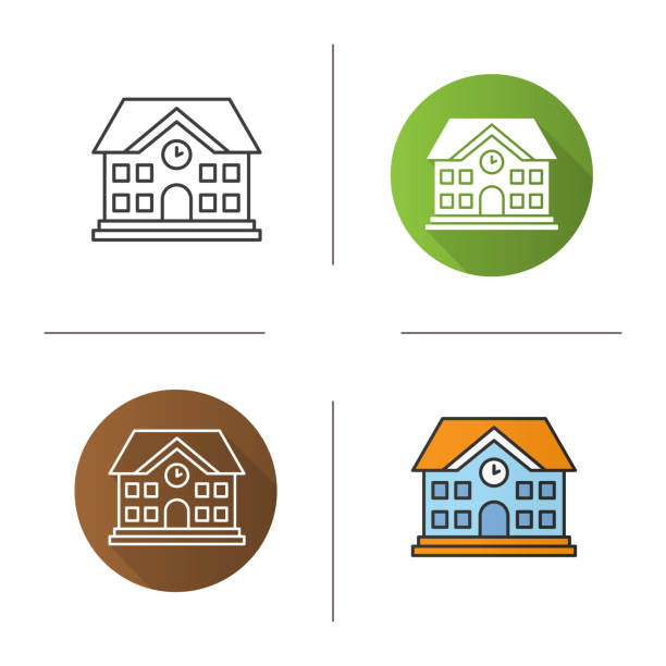 School building icon School building flat design, linear and color icons set. University schoolhouse stock illustrations