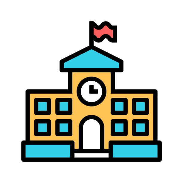 School building icon. School building icon. schoolhouse stock illustrations