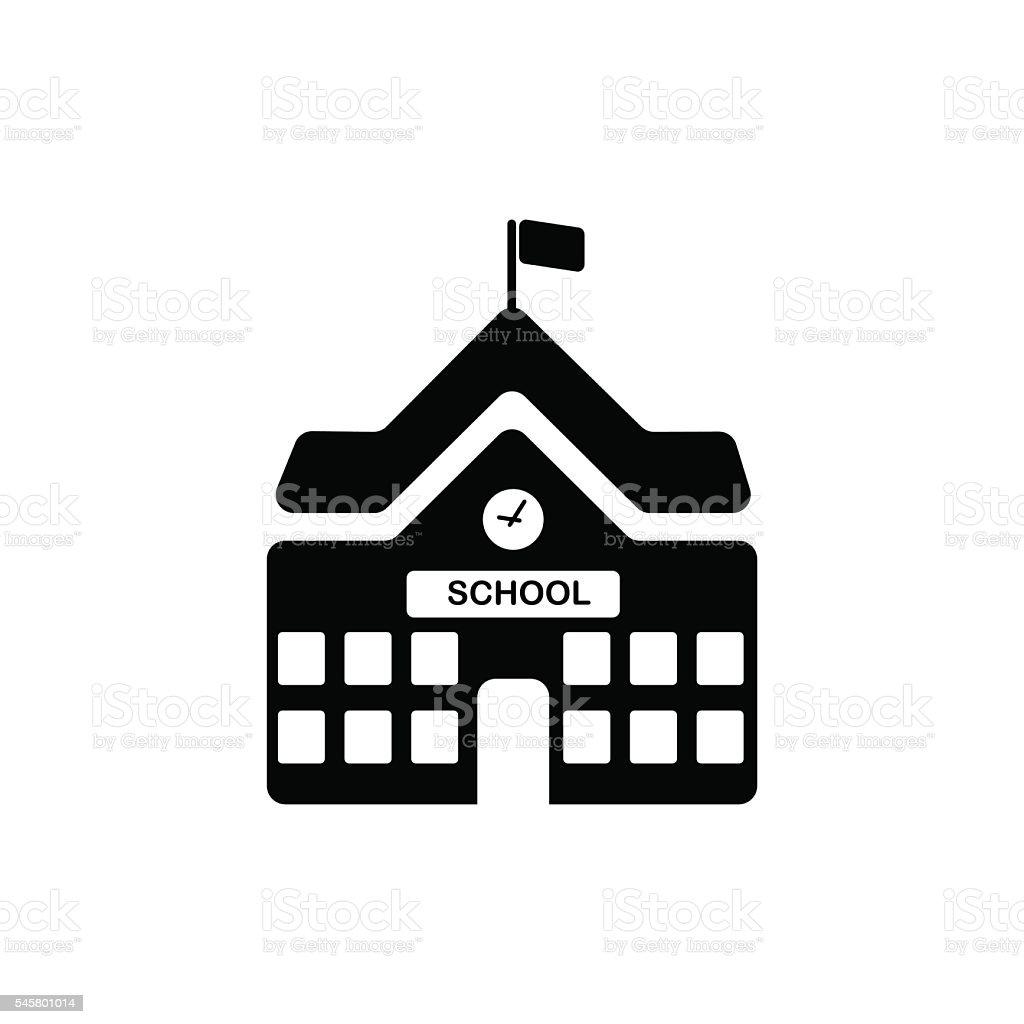 School building icon. Vector illustration vector art illustration