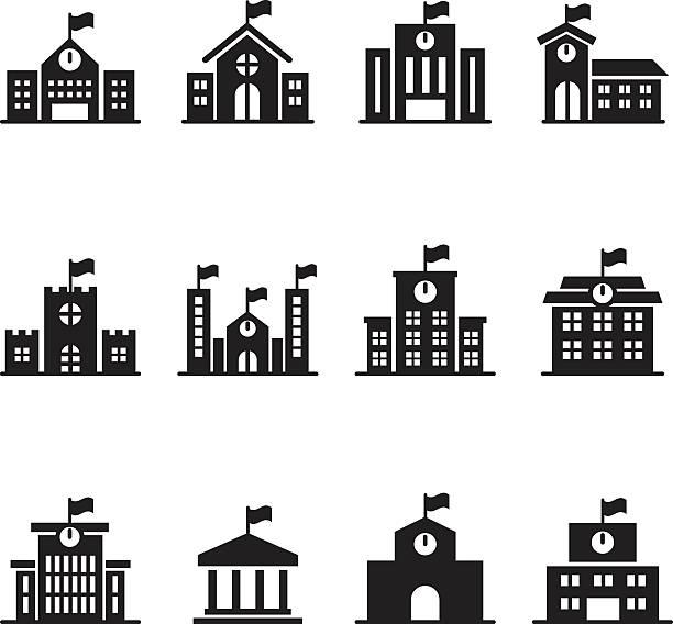 School building icons set School building icons set schoolhouse stock illustrations