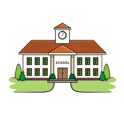 School building illustration in flat design. Used as teaching materials for teachers or those who want to make children's books. Including parents who teach their children in a homeschool format that uses teaching materials.