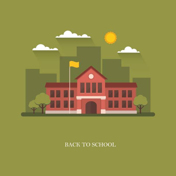 School building illustration on green background School building in flat style on green background. Back to school banner design concept. College, university, academy vector illustration campus stock illustrations