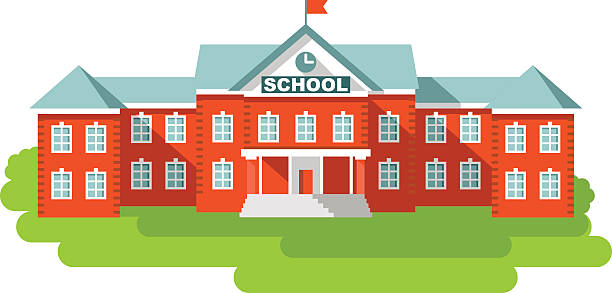 School building in flat style Classical school building isolated on white background schoolhouse stock illustrations