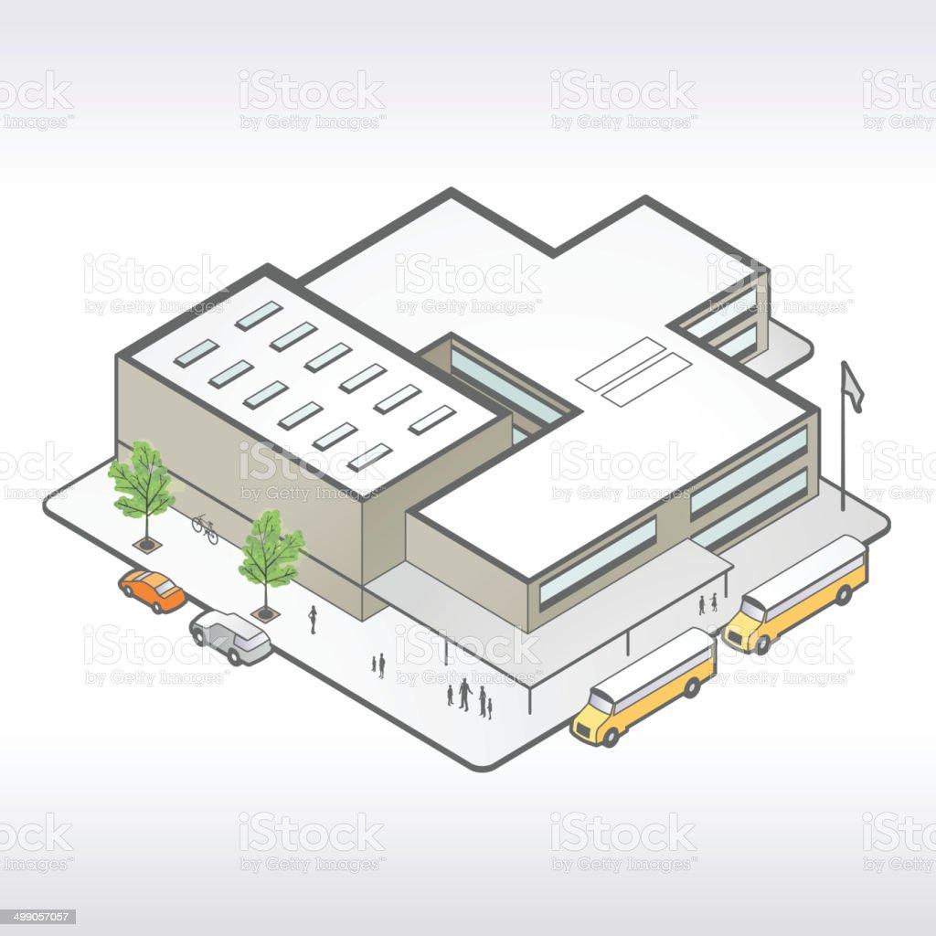 Établissement scolaire Isométrique Illustration - Illustration vectorielle