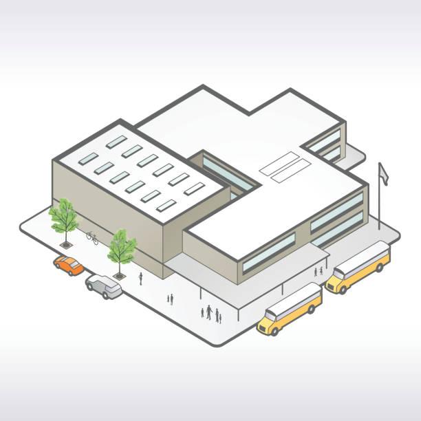 schulgebäude isometric illustrationen - gymnasium stock-grafiken, -clipart, -cartoons und -symbole
