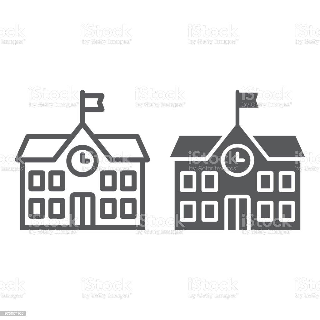 学校建物ラインとグリフのアイコン、学校、教育、建築サイン ベクター グラフィックスで白い背景、eps 10 の線形パターンです。 ベクターアートイラスト