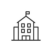 istock School Building Line Icon. Editable Stroke. Pixel Perfect. For Mobile and Web. 1159417564
