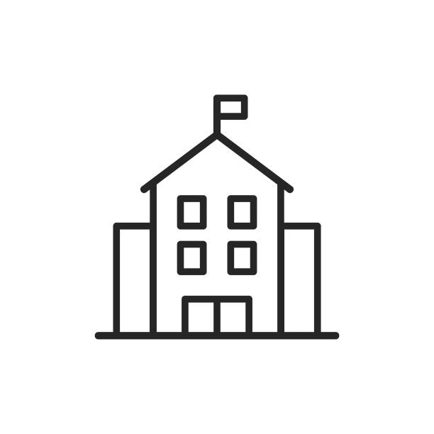 School Building Line Icon. Editable Stroke. Pixel Perfect. For Mobile and Web. School Building Line Icon with Editable Stroke. schoolhouse stock illustrations