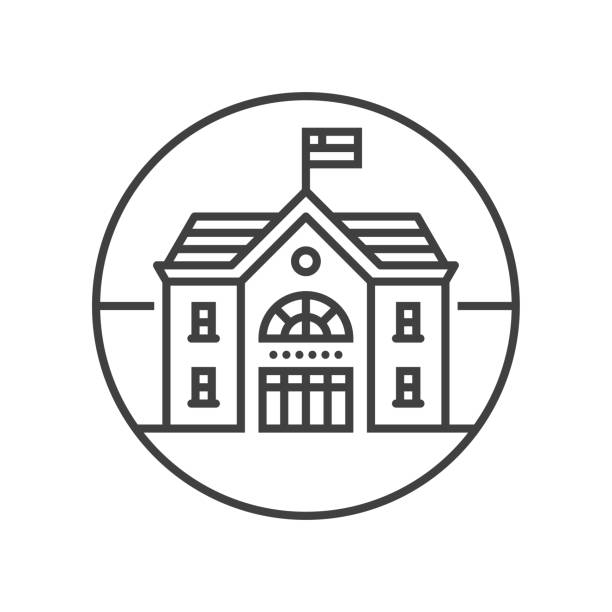 School building line icon Line vector icon. Vector EPS 10, HD JPEG 4000 x 4000 px schoolhouse stock illustrations