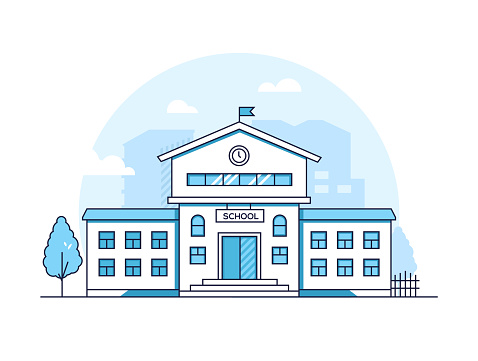 School building - modern thin line design style vector illustration