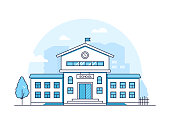 School building - modern thin line design style vector illustration on white background. Blue colored high quality composition with a facade of educational institution, tree. Urban architecture
