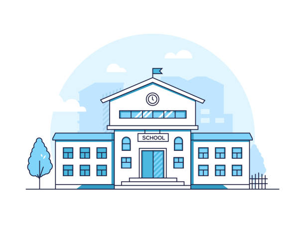 School building - modern thin line design style vector illustration School building - modern thin line design style vector illustration on white background. Blue colored high quality composition with a facade of educational institution, tree. Urban architecture school building stock illustrations