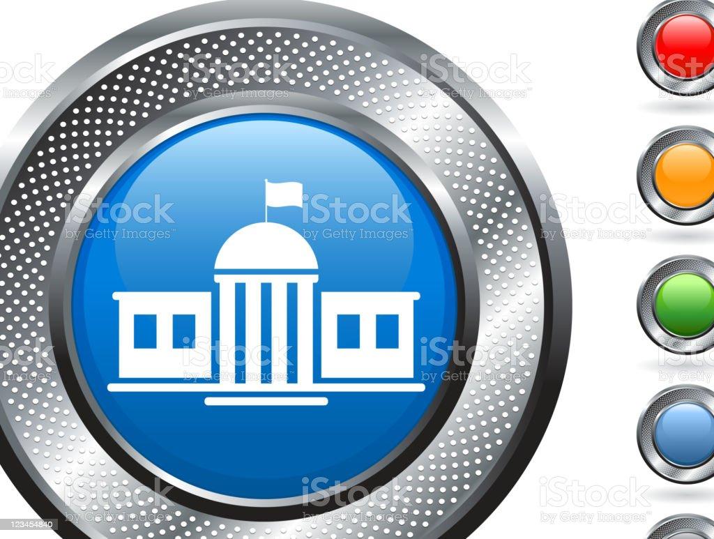 school building royalty free vector art on metallic button royalty-free stock vector art