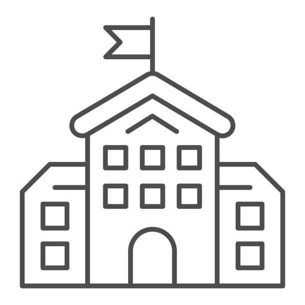 ilustrações de stock, clip art, desenhos animados e ícones de school building thin line icon, education concept, high school silhouette sign on white background, building with flag icon in outline style for mobile concept and web design. vector graphics. - isolated house, exterior