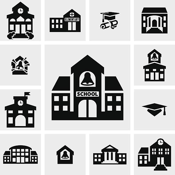 School building vector icons set on gray School building  icons set on grey background.EPS file available. schoolhouse stock illustrations