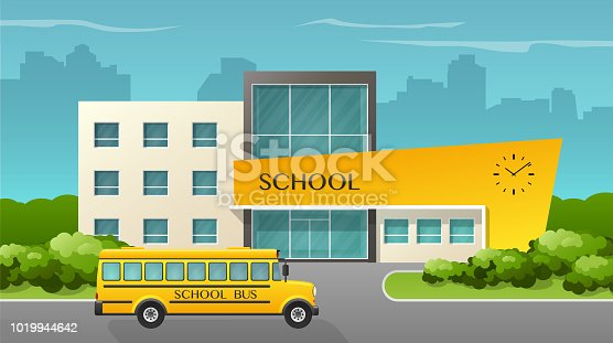 Flat style vector illustration of school building and bus.