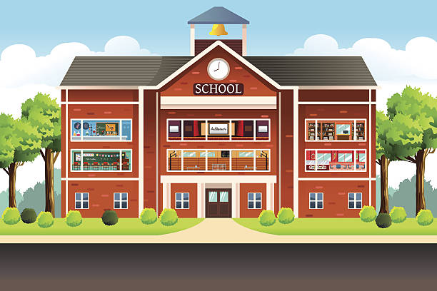 school building - primary school stock illustrations, clip art, cartoons, & icons