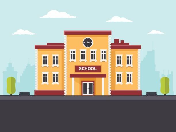 illustrazioni stock, clip art, cartoni animati e icone di tendenza di edificio scolastico - scuola