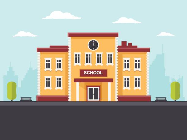 School Building School building in a city. Flat design style. school building stock illustrations