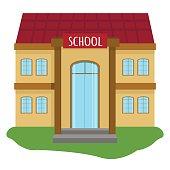 School building vector illustration.