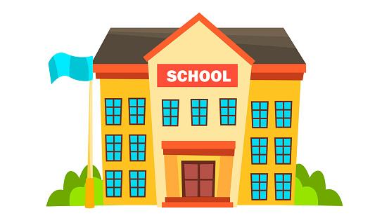 School Building Vector. Modern City University. Fasade Exterior. Brick. Isolated Flat Cartoon Illustration
