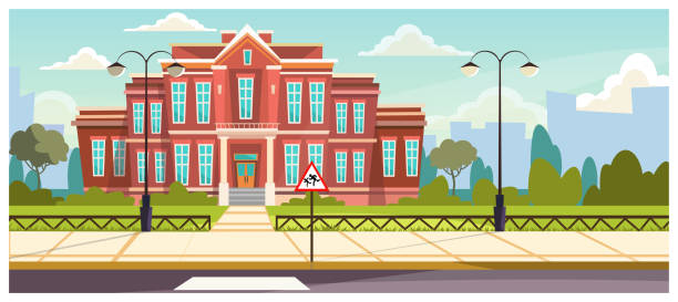 School building with small fence around School building with small fence around. Brick building near road and warning sign. Education concept. Illustration can be used for topics like architecture, learning environment, boarding school campus stock illustrations