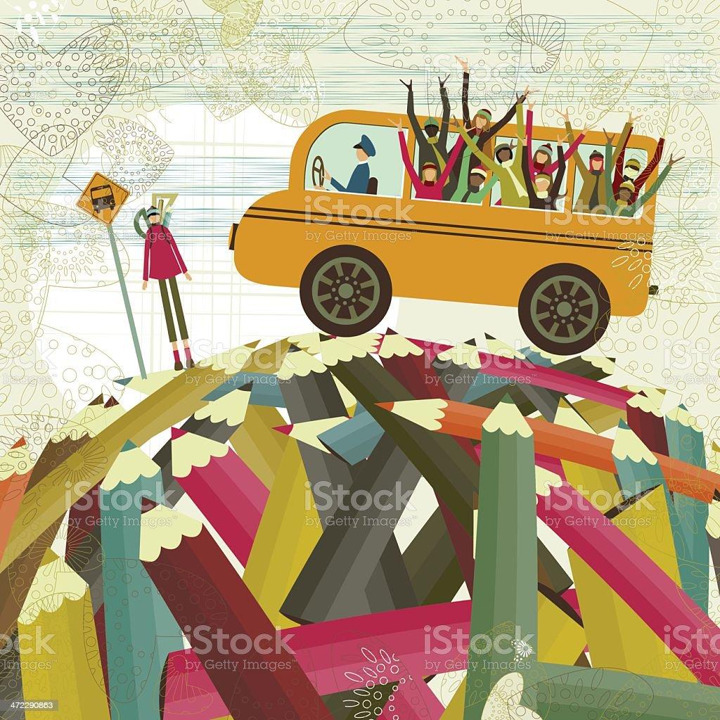 Autobús de colegio y niños - ilustración de arte vectorial