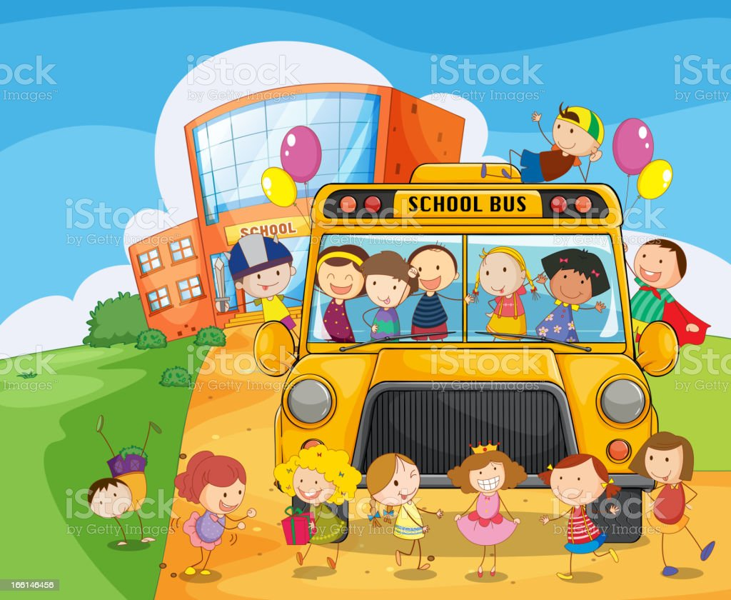 School bus and kids royalty-free stock vector art