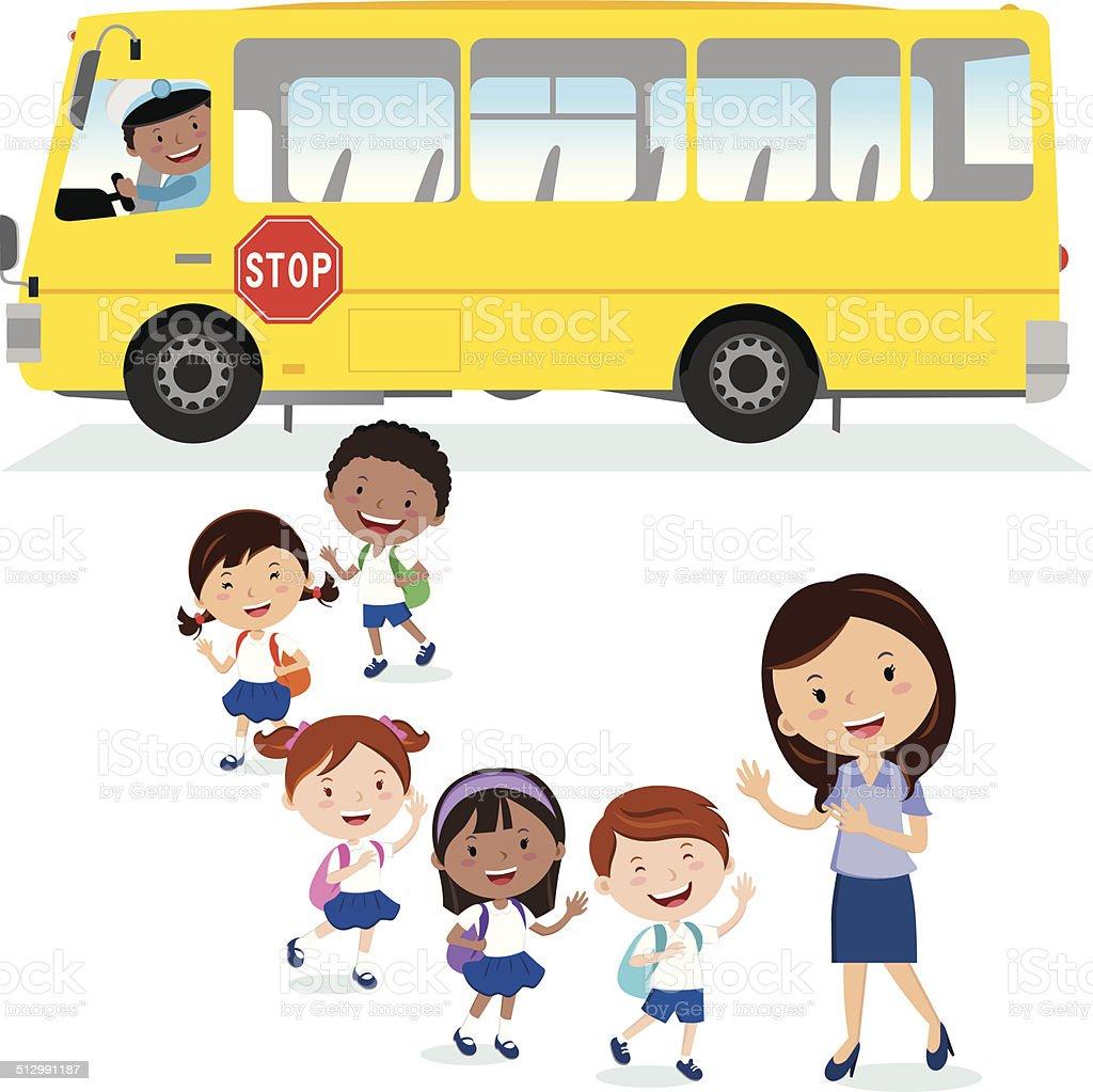Autobús de colegio.  Vuelta a la escuela. - ilustración de arte vectorial