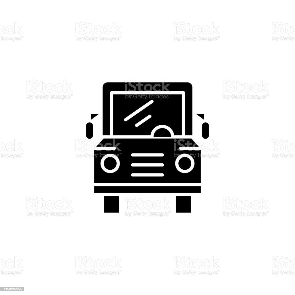 校車黑圖示概念。校車平面向量符號, 符號, 插圖。 - 免版稅乘圖庫向量圖形