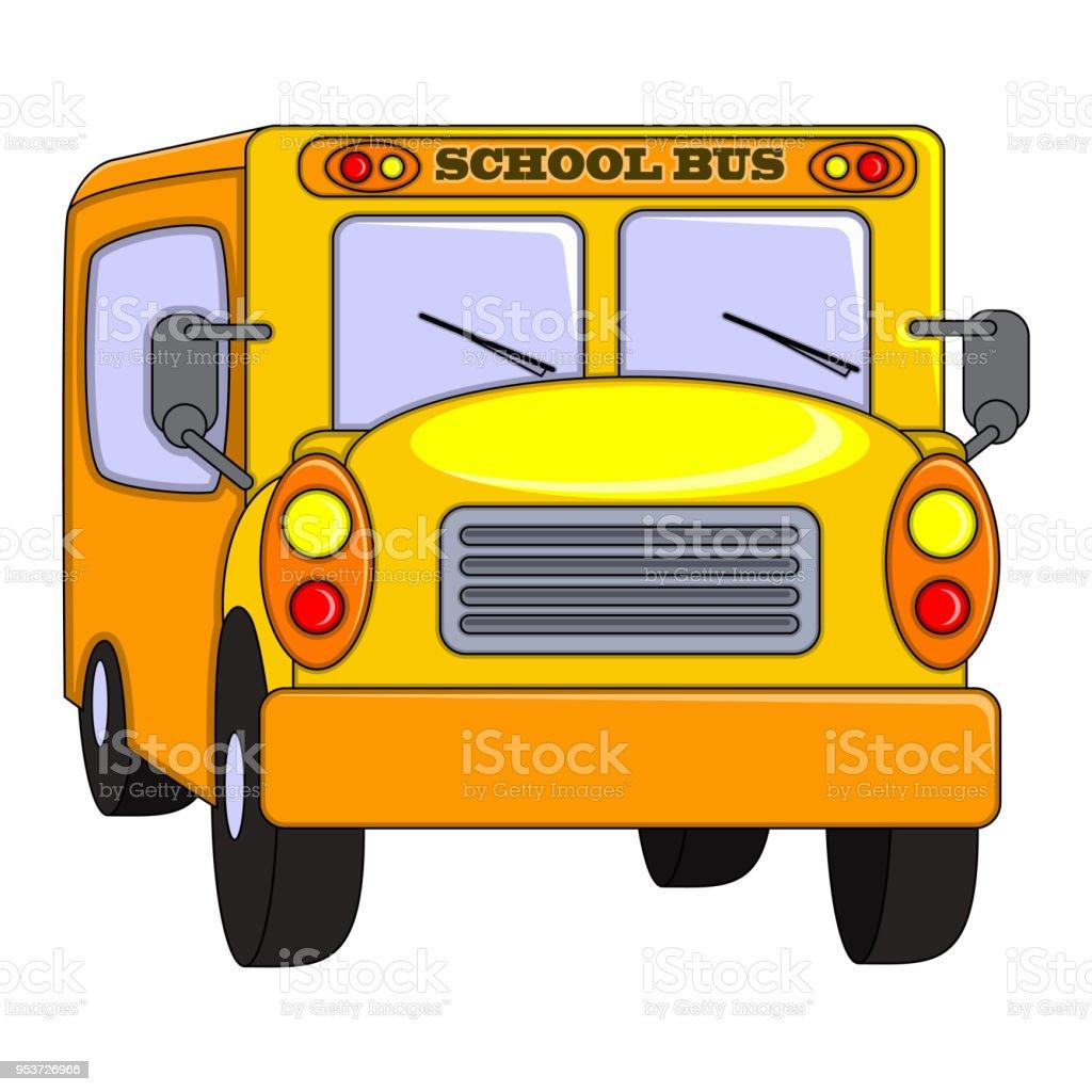 school bus cartoon stock vector art more images of back 953726966 rh istockphoto com Bus Stop Sign Clip Art Flat Tire Clip Art