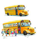 istock School bus. Children get on school bus.Transportation pupil or student, transport and automobile. Vector illustration. 1208411397