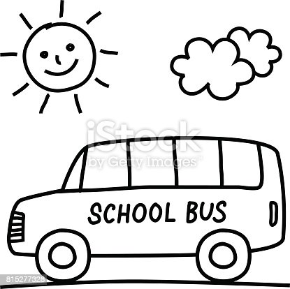 School Bus Drawing Stock Vector Art More Images Of Black Color