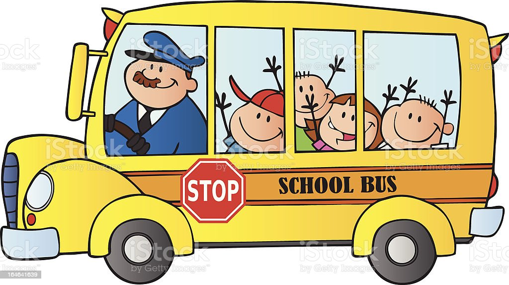 School Bus Driver And Kids royalty-free stock vector art